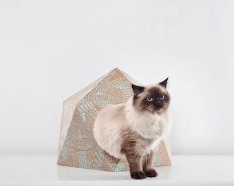 cardboard cat house - green