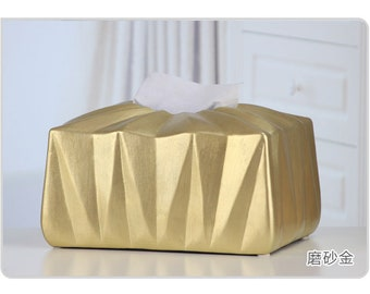 Simple style hand-painted ceramic tissue box Polyhedron hand-painted ceramic tissue box