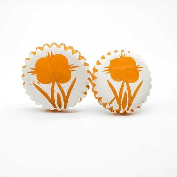 Bakelite Carved Flower Earrings, Egg Yolk Yellow B