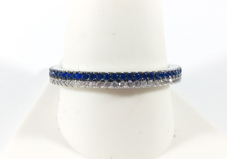 Sapphire Eternity Ring Size 11 Big Size Sterling Silver Wedding Band Stacking Blue And White Sapphire Ring 80/'s Stunning Vintage Ring