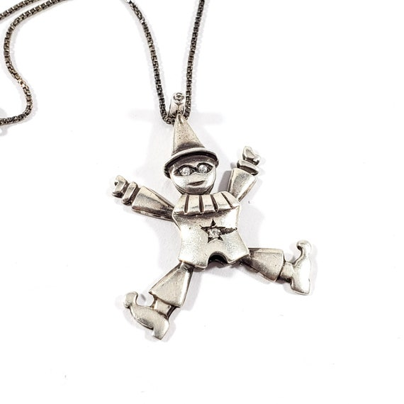 Sterling Clown Pendant Necklace, Movement Pendant,