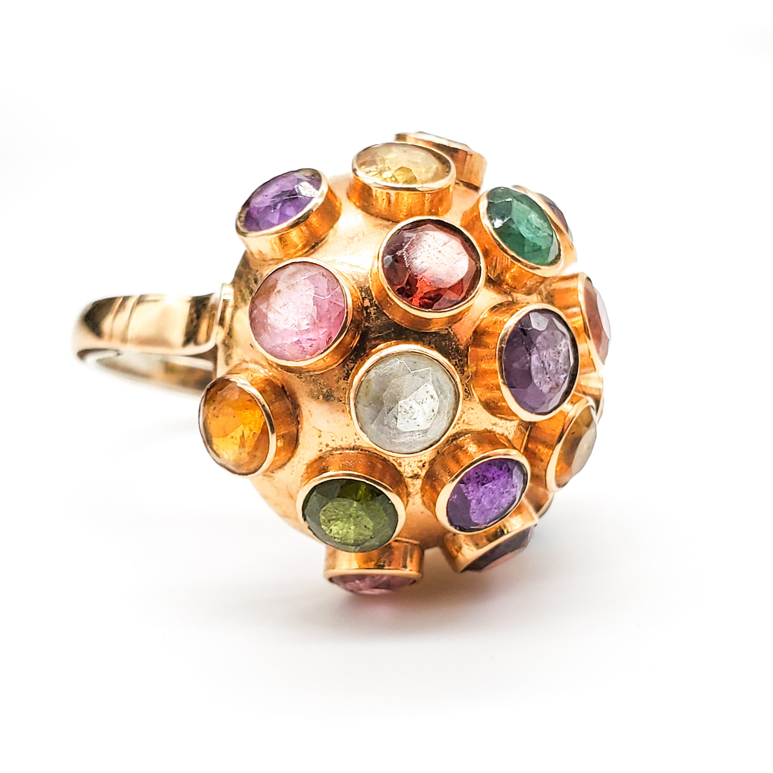 Very RARE 18K Gold H. Stern, Sputnik Cocktail Ring, Rainbow Gemstones, Mid Century Modernist Space Age Atomic, Authentic H. Stern, 1950s for sale