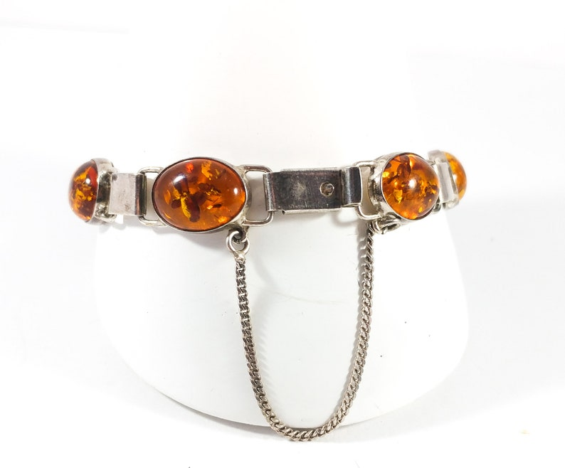 Amber Silver Bracelet Oval Amber Bracelet 1960/'s Sterling Polish Jewelry Baltic Amber Bracelet Breathtaking Natural Honey Amber Bracelet