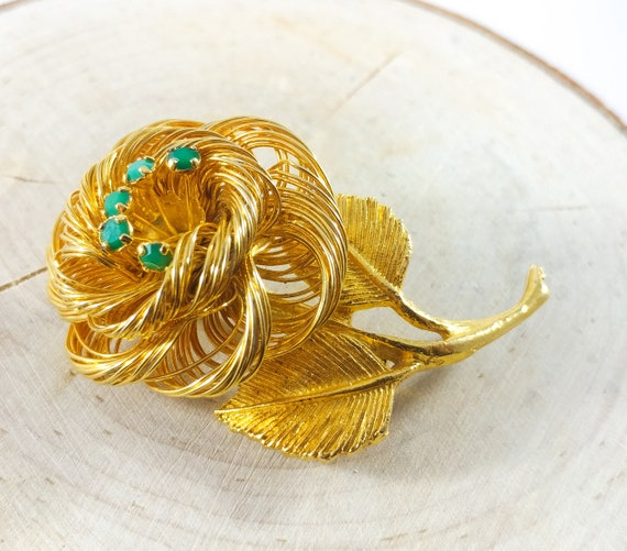 Hobe Brooch, Gold Wire Flower Brooch With Emerald