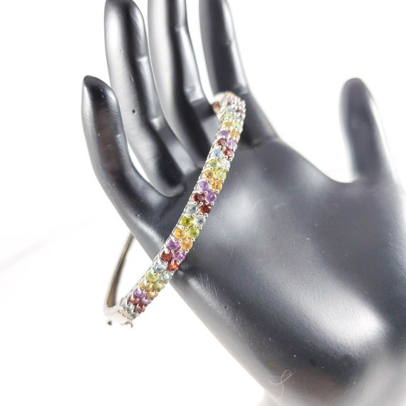 Rainbow Gemstone Bracelet, Sterling Silver Natural
