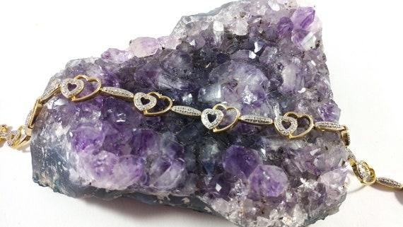 Diamond Heart Tennis Bracelet, Gold And Silver Ten