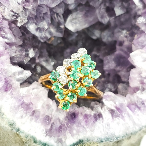 Gold Emerald Ring, 10K Solid Yellow Gold Ring With