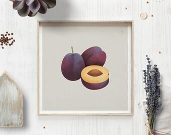 Plum print, Fruit wall art, Plant poster, Eco print, Housewarming gift, Foodie gift