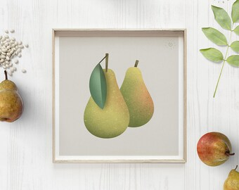 Pear print, Retro pear art, Pears poster, Green Fruit, Plant poster, Food illustration, Modern kitchen art, Vegetarian gift, Pear decor