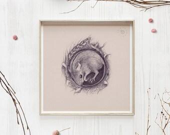 Birch mouse art, Mouse print, Woodland animals, Little mouse decor, Pencil art, Farmhouse wall decor, Nursery pink art, Nature lover gift