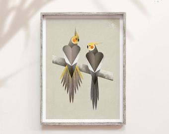 Cockatiel print, Parrot art, Original bird art, Australia bird print, Pet portrait, Forest nature, Nature gift, Geometric minimal