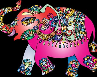 Elephant with Decorative Oranments SVG File