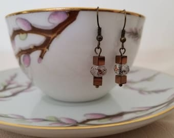 Copper and brown Drop earrings