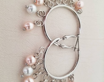 Silver Hoop earrings with Pearl drops.