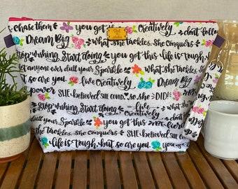 Large zipper bag, cosmetics bag, fiber arts project bag, diaper bag organizer, or travel pouch (girl power pattern)