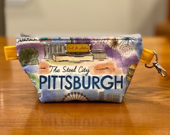 Small zipper bag, cosmetics pouch, fiber arts project bag, diaper bag organizer, or travel pouch (Pittsburgh pattern)