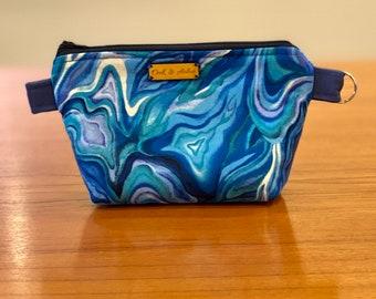 Small zipper bag, cosmetics pouch, fiber arts project bag, diaper bag organizer, or travel pouch (blue agate swirl pattern)
