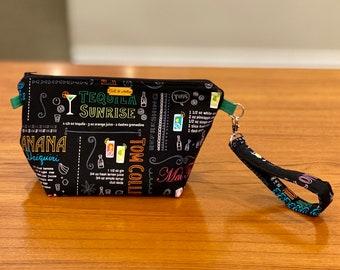 Medium zipper bag, cosmetics pouch, fiber arts project bag, diaper bag organizer, or travel pouch (summer cocktails pattern)