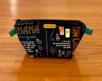 Small zipper bag, cosmetics pouch, fiber arts project bag, diaper bag organizer, or travel pouch (summer cocktails pattern)