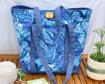 Tote bag, fiber arts project bag, or travel bag (blue agate swirl pattern)