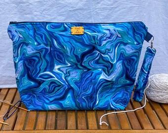 Large zipper bag, cosmetics pouch, fiber arts project bag, diaper bag organizer, or travel pouch (blue agate swirl pattern)