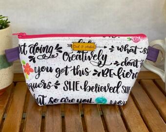 Small zipper bag, cosmetics bag, fiber arts project bag, diaper bag organizer, or travel pouch (girl power pattern)
