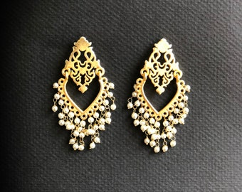Wedding Earrings, Bridal Earrings, Indian Pakistani Earrings, Bollywood Earrings, Pearl Earrings, Lightweight Earrings, Jhumkas Jhumkis