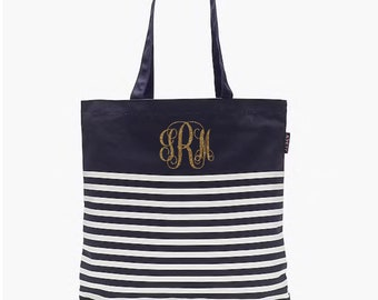 Personalized Navy Striped Tote