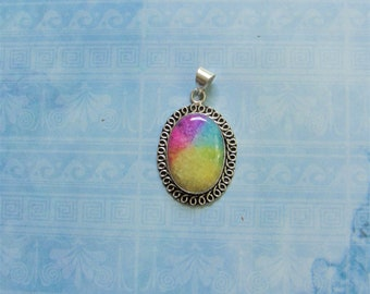 Rainbow Pendant .925 Silver Setting over Copper Purple Gemstone Rainbow Solar Quartz Pendant #11 Semi Precious Oval Pendant