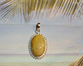 Fossil Coral .925 Sterling Silver Pendant