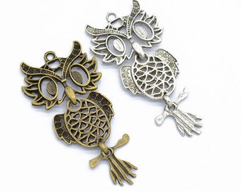 55pcs 24x18mm Antique SilverAntique Bronze Owl Pendant Charms,Alloy Owl Necklace,Cute Jewelry,DIY Supplies,Jewelry Making Findings,D124