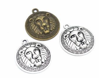 60pcs 24.5x13mm Antique SilverAntique Bronze  Lion Pendant Charms,Lion Necklace Cute Jewelry DIY Supplies,Jewelry Making Findings,D9213