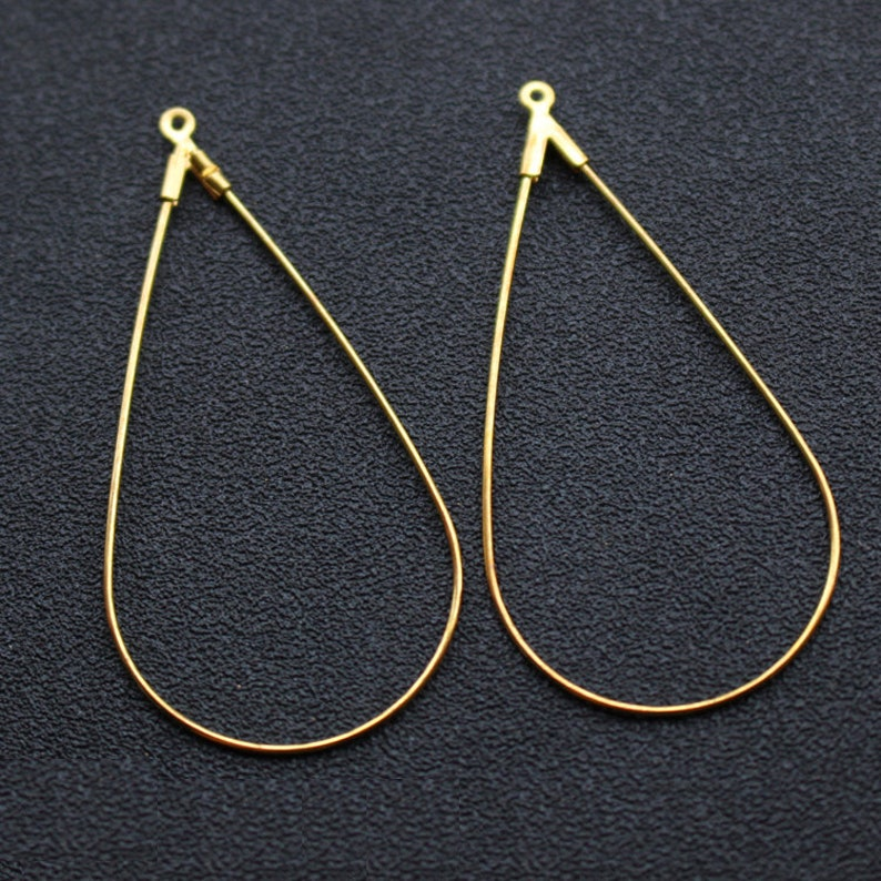 H142 100pcs 25x51mm Raw Brass Waterdrop Pendant Charms Hollow Ear Wire Finding Component for Teardrop Earrings Making Supplies