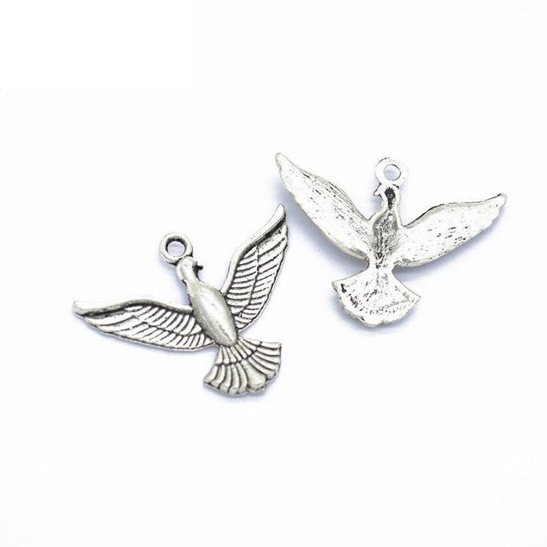 Cute Jewelry,DIY Supplies,Jewelry Making Findings,D530 Alloy Bird Necklace 30pcs 37x29mm Antique SilverAntique Bronze Bird Pendant Charms