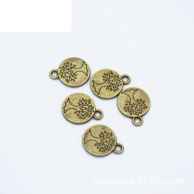 Jewelry Making Findings,Q238 200pcs 15x12mm Antique Silver Antique Bronze Round Life Tree Pendant Charms,Life Tree Necklace DIY Supplies