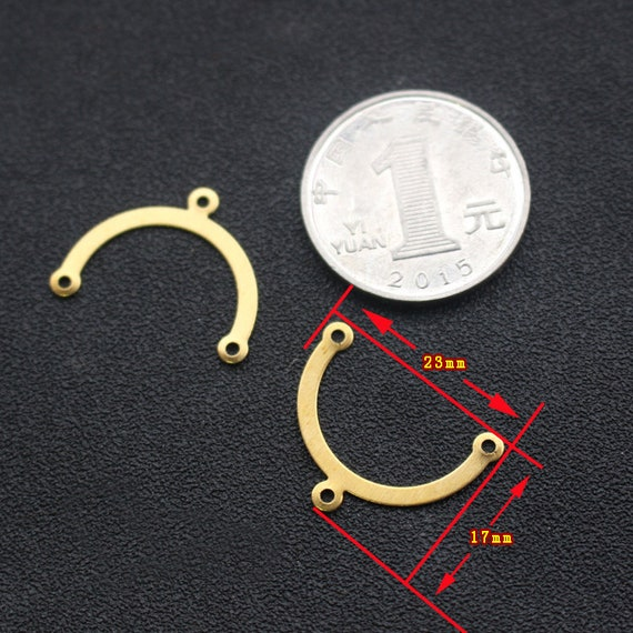 20Pcs Raw Brass Embossed U Shaped Charms Pendants DIY Jewelry Making Findings