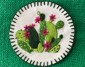 hand-embroidered cactus patch