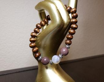 Handmade Gemstone Bracelet: Purple Agate and Wood
