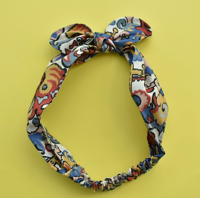 Hair band knot tie in bright multicolour graphic Liberty of London print