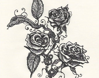 Roses and Snake Ink Drawing