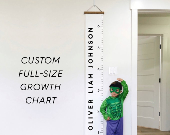 Custom Growth Chart - Full Size 6.5ft tall! Thick canvas and wood hanging frame