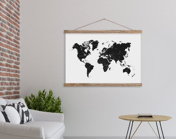 Black and White World Map with Wood Magnetic Print Hanger