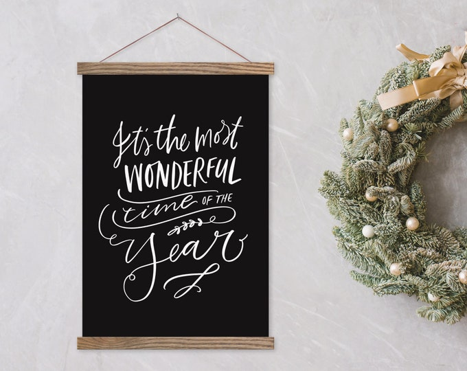 It's the Most Wonderful Time of The Year - Black Canvas Christmas Print