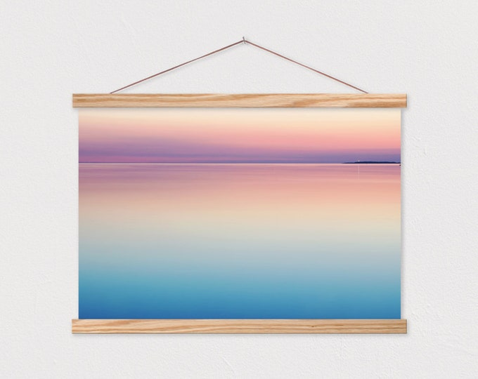 Dusky Horizon Print with Real Wood Magnetic Poster Hanger