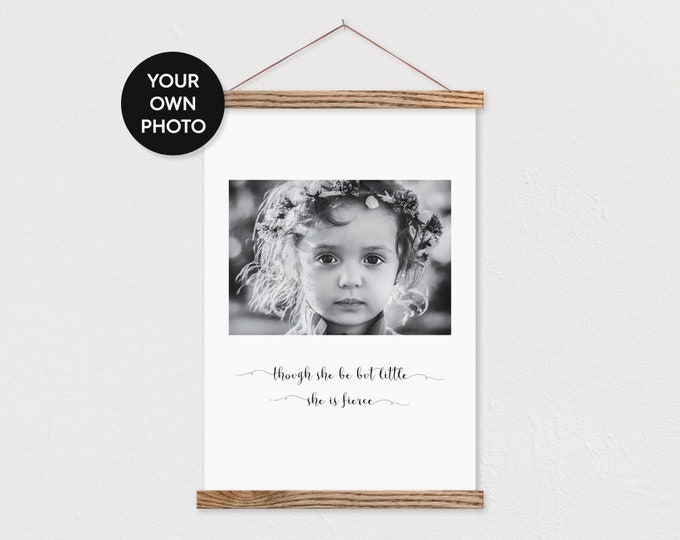 Custom Baby Girl Photo and Quote on Canvas with Wood Magnetic Poster Hanger