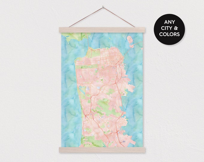 Custom Watercolor City Map with Wood Magnetic Poster Hanger