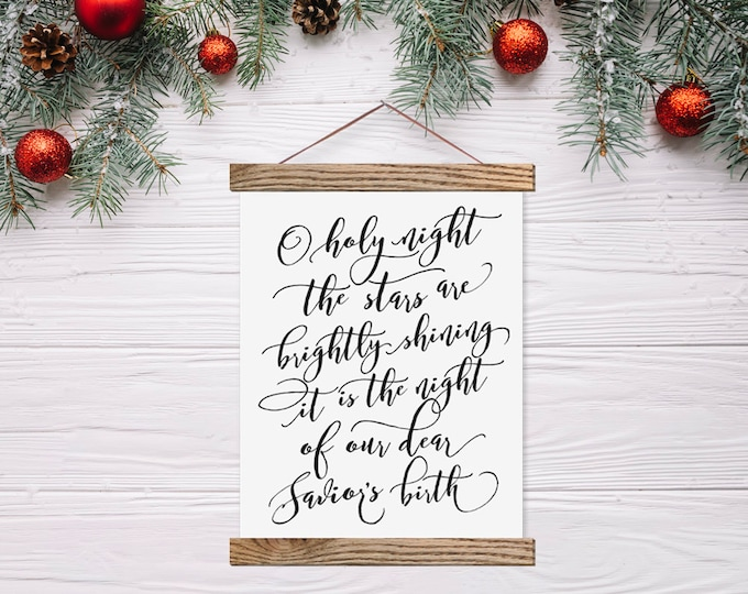 O Holy Night Canvas Hanging Farmhouse Sign - Christmas Decor
