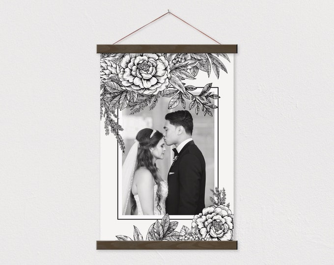 Custom Black and White Photo printed on Canvas with Black an White Floral Details Wood Magnetic Frame Sticks