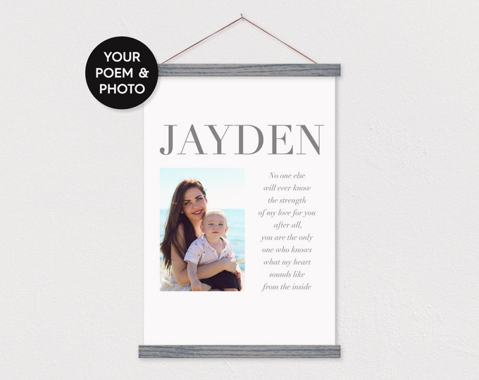 Baby Picture Poem Custom Canvas Poster with Wood Hanger - any words or pix