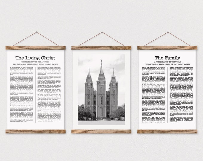 The Living Christ + The Family Proclamation + Any LDS Temple Framed Photo
